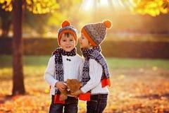 Irmãos mais novo adoráveis com o urso de peluche no parque no dia do outono Fotos de Stock Royalty Free