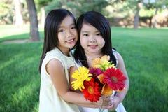 Irmãs bonitos com flores Fotos de Stock Royalty Free