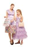 Irmãs com presentes foto de stock