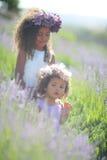 Irmãs fora em um campo de flor da alfazema Fotos de Stock