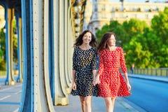 Irmãs gêmeas bonitas na ponte do Bir Hakeim em Paris, França Imagens de Stock Royalty Free