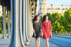 Irmãs gêmeas bonitas na ponte do Bir Hakeim em Paris, França fotos de stock royalty free