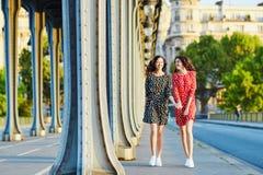 Irmãs gêmeas bonitas na ponte do Bir Hakeim em Paris, França fotografia de stock