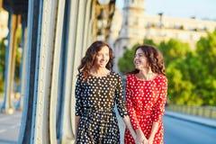 Irmãs gêmeas bonitas na ponte do Bir Hakeim em Paris, França Imagens de Stock