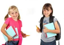 Irmãs prontas para a escola imagens de stock royalty free