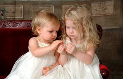 Irmãs que prendem a flor Imagens de Stock