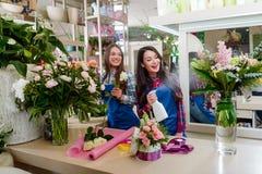 Irmãs que trabalham no florista foto de stock royalty free