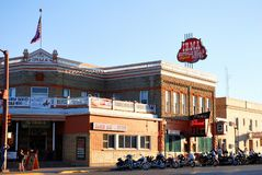 Irma, the legendary hotel of Buffalo Bill in Cody, USA. Irma, the legendary Hotel in Cody with a lot of motorbikes in front . Buffalo Bill built the hotel in stock photos