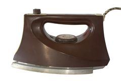 Iron. Old electric iron on a white background Stock Images