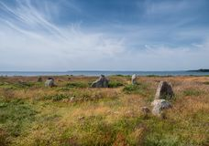 Iron age burial mounds on Hjarnoe island in Denmark. Iron age burial mounds on Hjarnoe island in  Denmark stock photo