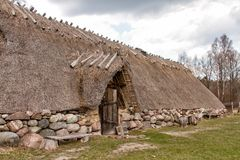 Iron age house. Reconstruction of an iron age house on the island of Öland Sweden royalty free stock photography