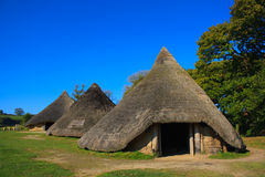 Iron age huts. Reconstructed round houses located in an iron age hill fort in  Pembrokeshire Wales Royalty Free Stock Photos