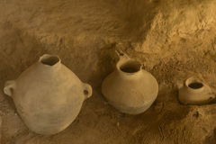 Iron age pots. Pots excavated and in situ in the Iron Age museum in Tabriz, Iran Stock Images