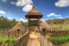 Iron age settlement. Of Craggaunowen near 16th Century castle Royalty Free Stock Photo