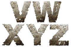 Iron alphabet. Iron letters with torn edge isolated on white background (series Stock Photo