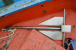 Iron anchor. An iron anchor on the fisherman ship royalty free stock image