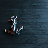 Iron anchor on a background of black painted wood 3d render.  Royalty Free Stock Image