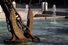 Iron anchor in the pool Stock Image