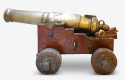 Iron artillery cannon on a white background Royalty Free Stock Images