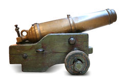 Iron artillery cannon on a white background Stock Photo