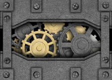 Iron background with metal gears, ancient mechanism. Metal plates with a mechanism inside background iron sheets with gears Stock Illustration