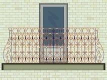 Iron balcony against wall background Stock Image