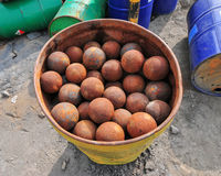 Iron Balls for Milling Ore Stock Photography