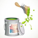 Iron bank with paint and brush splashes of green paint Royalty Free Stock Photo
