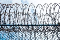 Iron Barbed wire in the blue sky with clouds Stock Photos