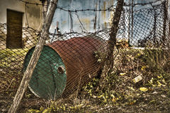 Iron barrel. Abandoned Iron barrel  in the wild Stock Image
