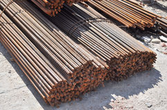 Iron bars. On a construction site Stock Photo