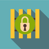 Iron bars door with padlock icon, flat style Stock Images
