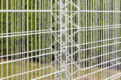 Iron bars of an empty gabion wall Royalty Free Stock Images