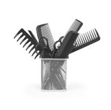 Iron basket with round hair brushes, Royalty Free Stock Image