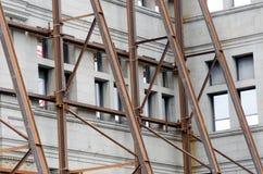 Iron beams enforcing wallsdemolition site at Government street. Victoria, British Columbia stock photos