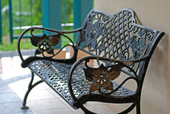 Iron bench at the garden Royalty Free Stock Image