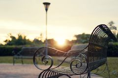 Iron Bench in the Park. Black iron bench in the city park during sunset Royalty Free Stock Photo