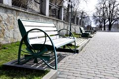 Iron bench in the park. stock photography