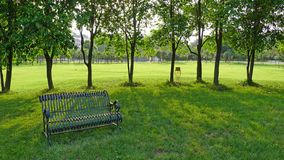 An iron bench with trees Royalty Free Stock Photos
