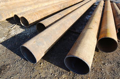 Iron big-diameter pipes for construction Stock Photo
