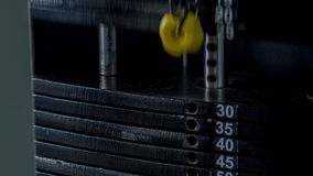 Iron black equipment for gym is in move stock footage