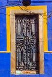 Iron Blue Yellow Door Guanajuato Mexico Stock Photography