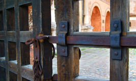 An iron bolt on old gate Royalty Free Stock Photography