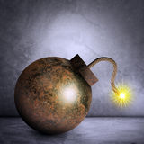 Iron bomb on grey Royalty Free Stock Photography