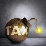 Iron bomb with word tax Stock Photos
