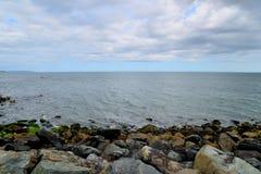 Iron-bound rock stone coast Royalty Free Stock Images