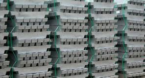Iron bricks. Bricks and blocks of iron just after casting in the factory blast furnace Stock Images