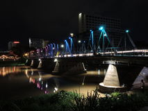 Iron bridge in Chiang Mai at night. Bridge over Ping river at evening Stock Photography