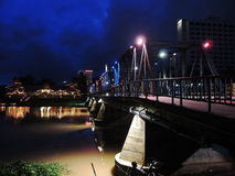 Iron bridge in Chiang Mai. Bridge over Ping river at dusk Royalty Free Stock Image