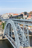 Iron Bridge D. Luiz in Oporto, Portugal. Famous centennial iron bridge D. Luiz over the Douro river, crossing the cities of Oporto and Gaia, Portugal - By Royalty Free Stock Image